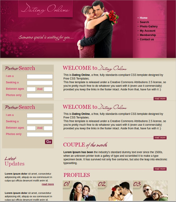 free css website template for dating