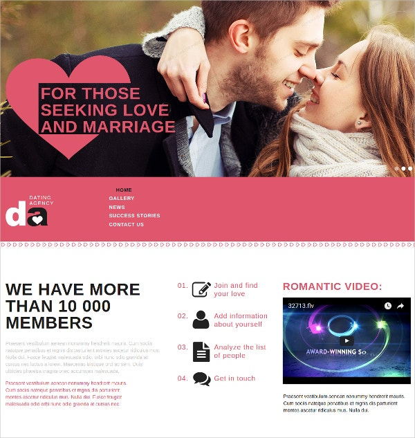 Dating Agency HTML Website Template $41