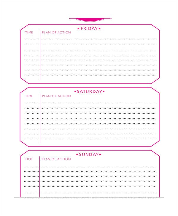 Weekend Itinerary Template - 6+ Free Pdf Documents Download | Free