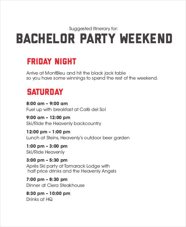 Bachelorette Weekend Itinerary Template