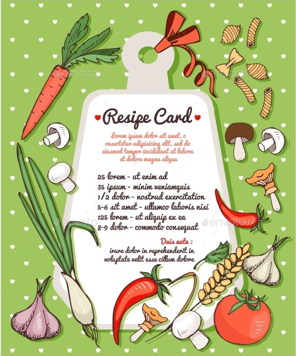 recipe card with fresh vegetablespasta