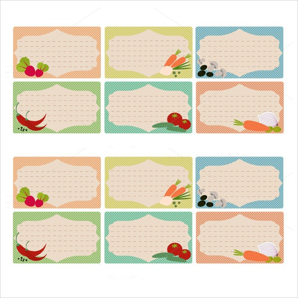 collection of printable recipe card templates