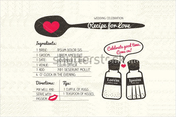 recipe card creative wedding invitation design