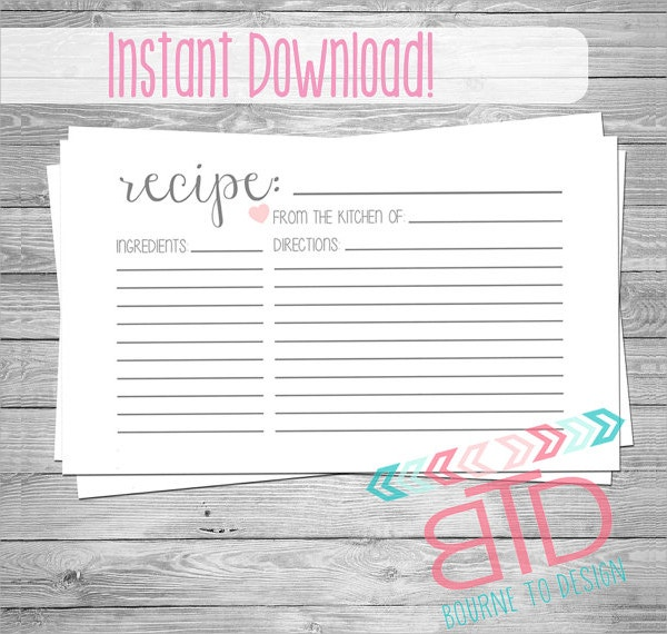 Editable Blank Customizable Recipe Card
