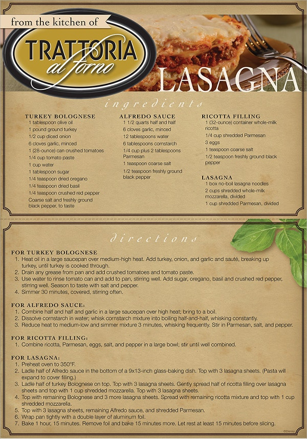 Printable Trattoria al Forno Recipe Card
