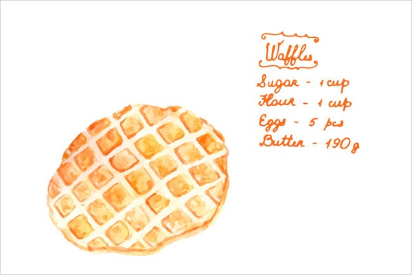 Watercolor Waffles Recipe in Vector Card Design