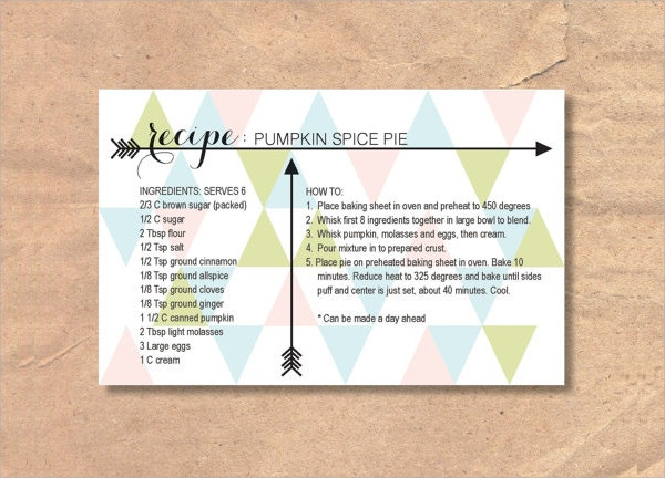 Printable Recipe Card  Free Psd Vector Eps Png Format