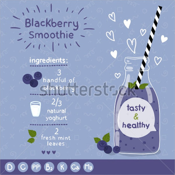 blackberry smoothie recipe card template