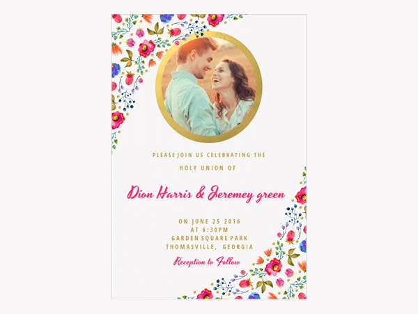 Wind of Flowers Printable Wedding Invitation Template