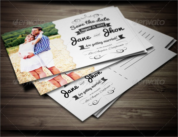 Elegant Wedding Invitation Postcard Template