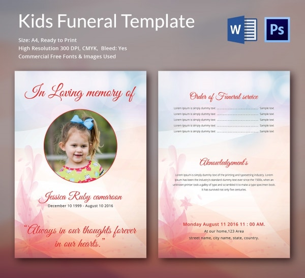 5 kids funeral templates word psd format download free
