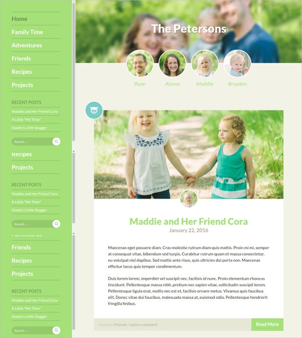 Family Blog WordPress Website Theme $39