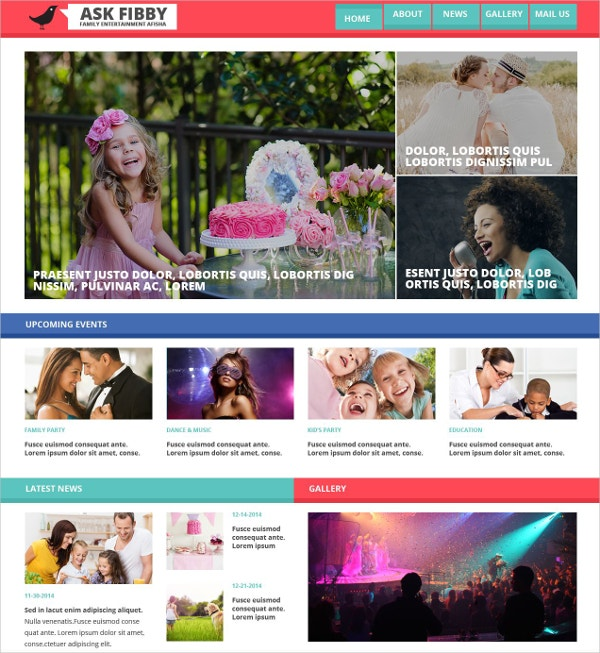 Family Entertainment HTML Website Template $75