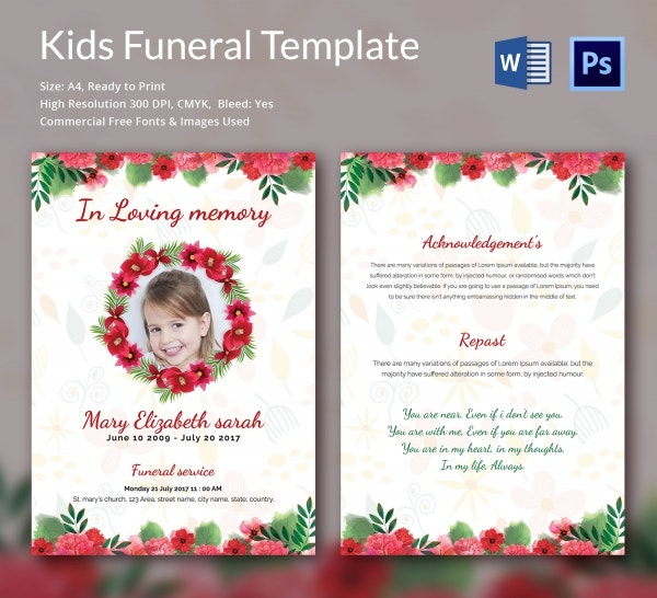 Order Service Funeral Templates For kids