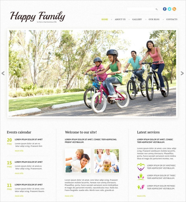 Family Responsive CSS Website Template $75