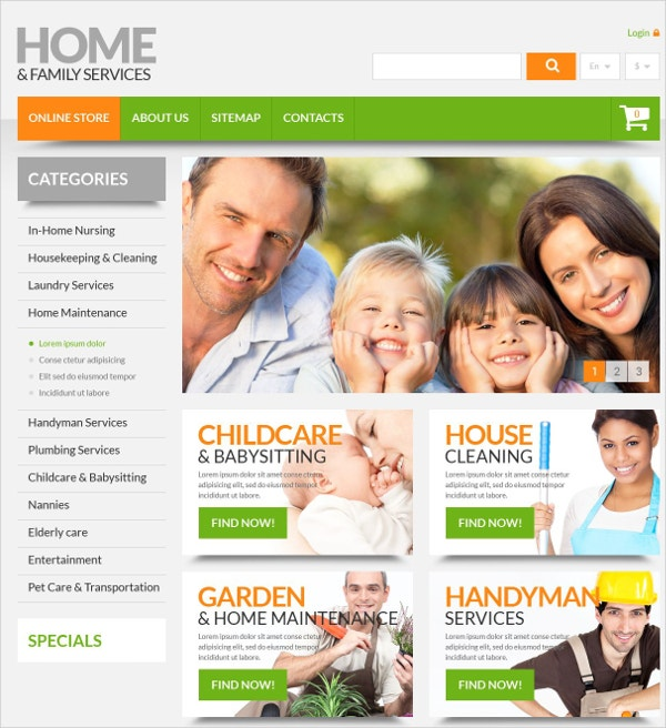 Home & Family Services HTML Website Theme