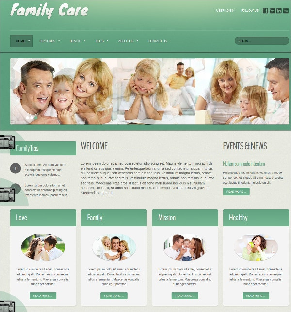 Family Care Joomla Website Theme $35