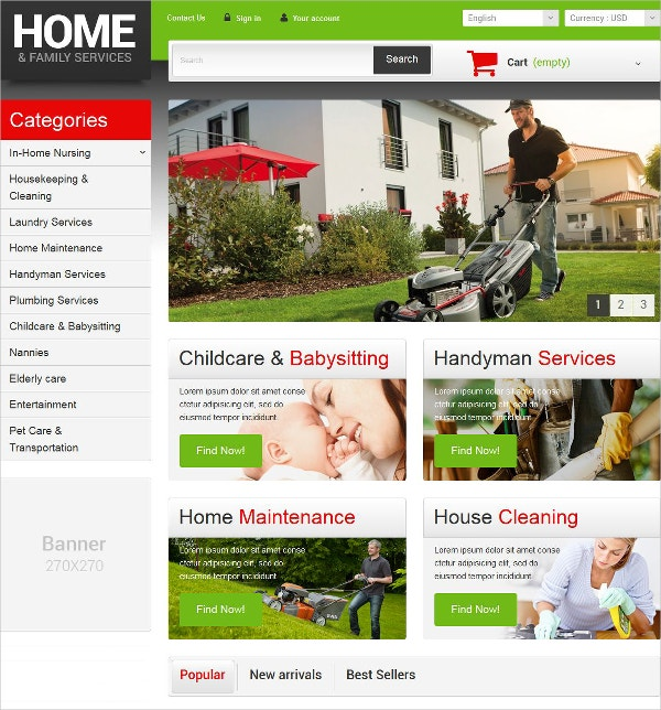 Home Family Services WordPress Website Theme $139