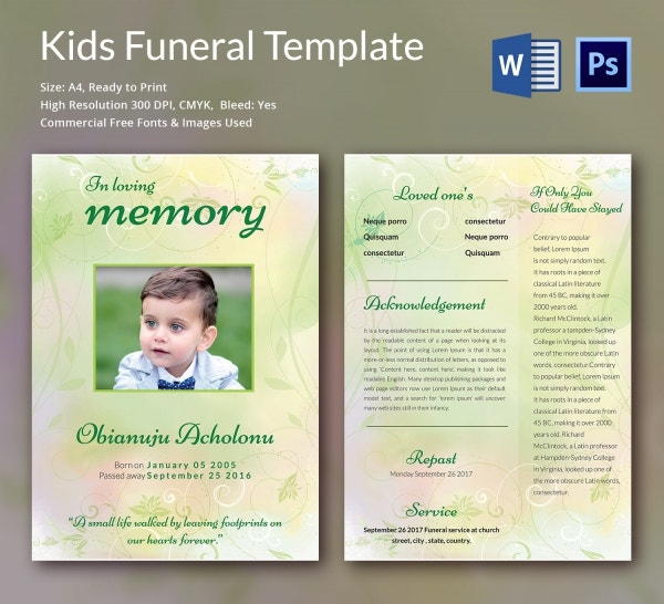 Kids Funeral Templates  Word Psd Format Download  Free