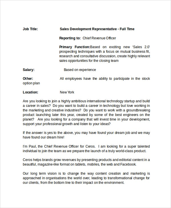 Job Description Templates In Word  Free  Premium Templates