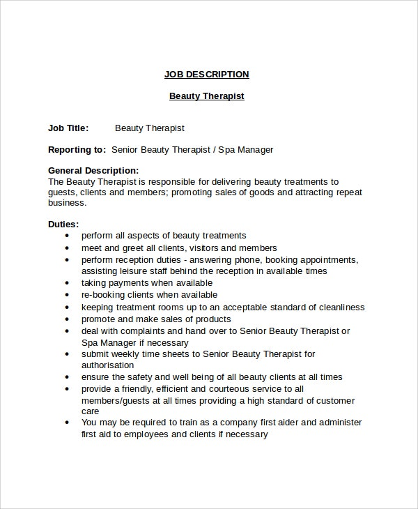 Beauty Therapist Job Description Template