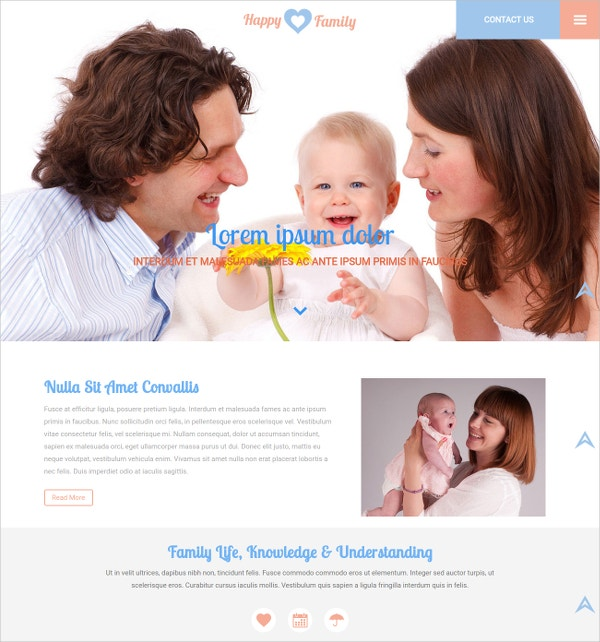 family bootstrap responsive website template