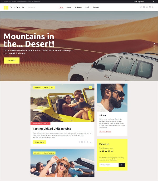 Travel website WordPress Theme $45