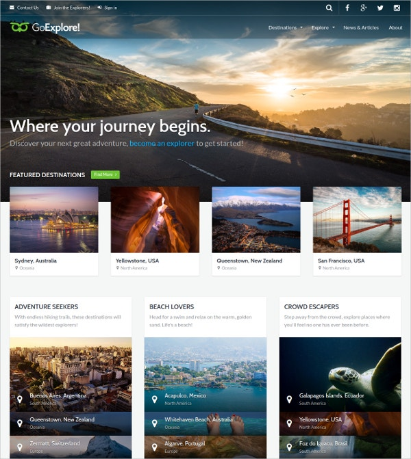 Travel WordPress Website Template $54