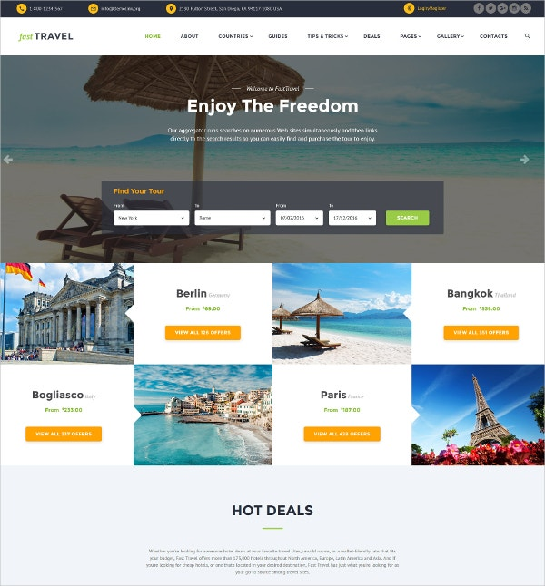 Travel Responsive Website Template $75