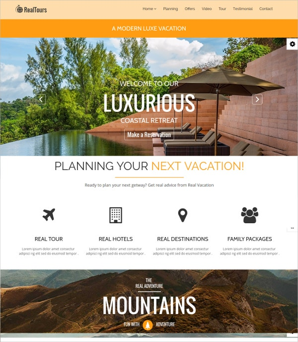 Travel Landing Page HTML Website Template $19