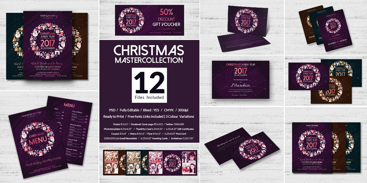 12 Merry Christmas Templates Bundle