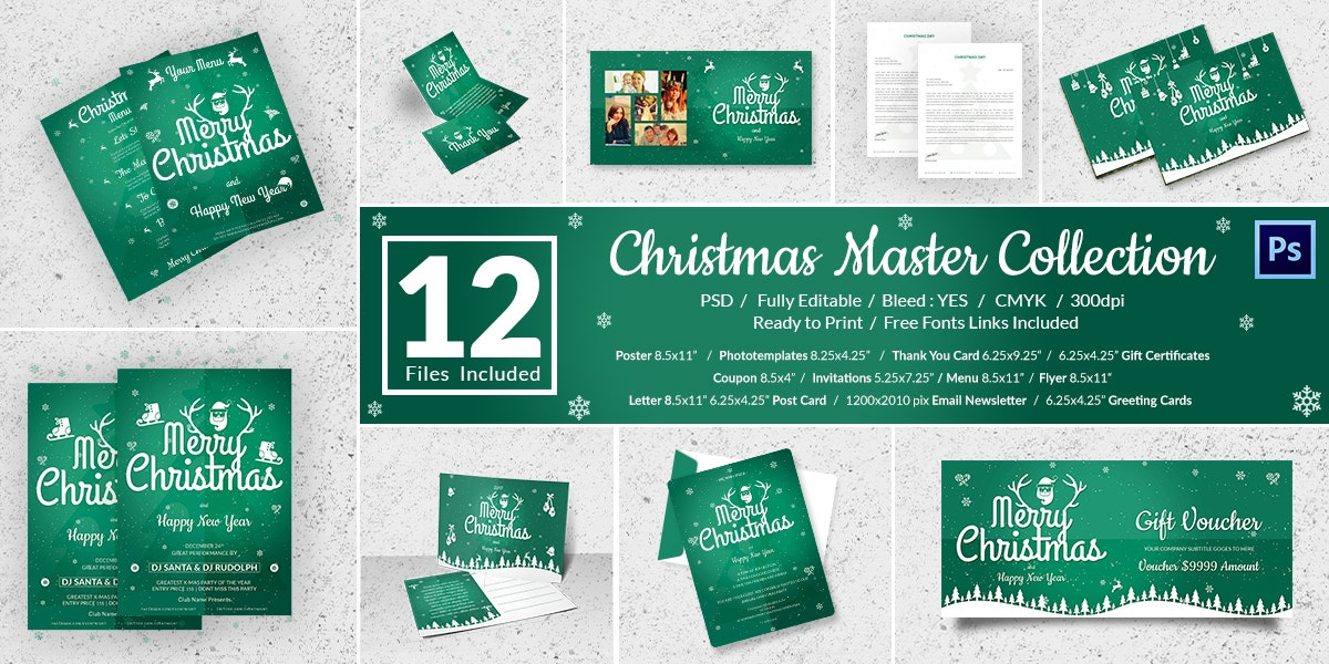 12 Personalized Merry Christmas Template Bundle