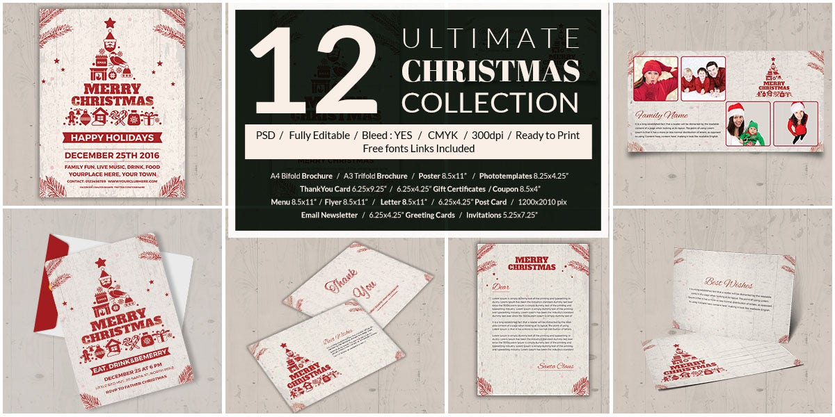 12 Christmas Bundle Package Templates