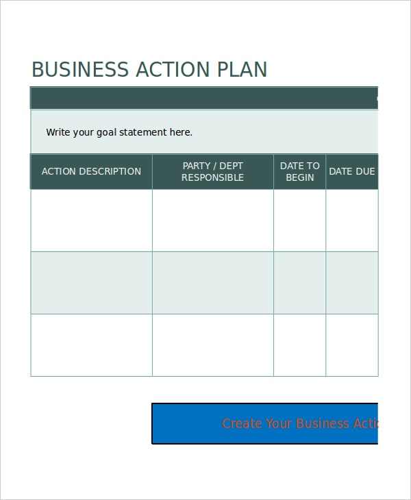 Excel business plan template 12 free excel document downloads business action plan template excel wajeb Images