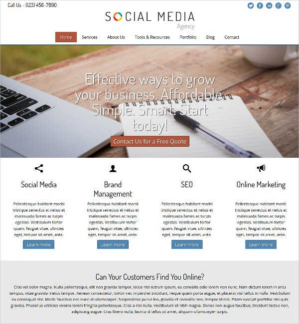 Online Social Media Agency WordPress Website Theme
