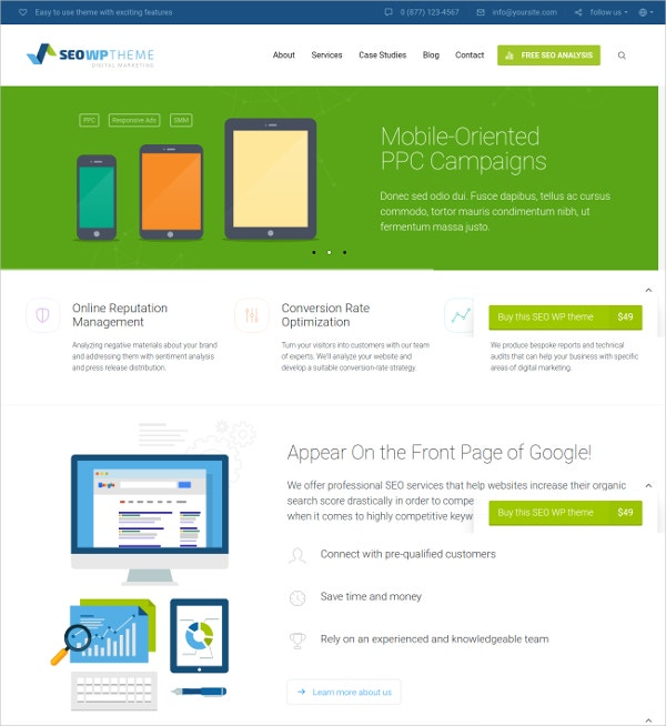 Online Marketing & Social Media Agency WP Website Theme $49