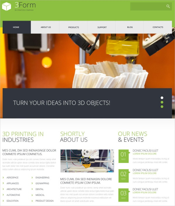 Awesome 3D Printing Technologies WordPress Theme $75