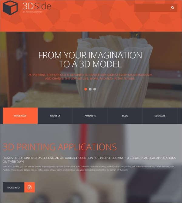 3D Side Printing Applications WordPress Theme $79