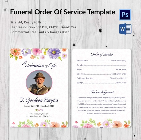 Funeral Order of Invitation Service Template