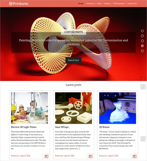 Premium 3D Printing WordPress Theme