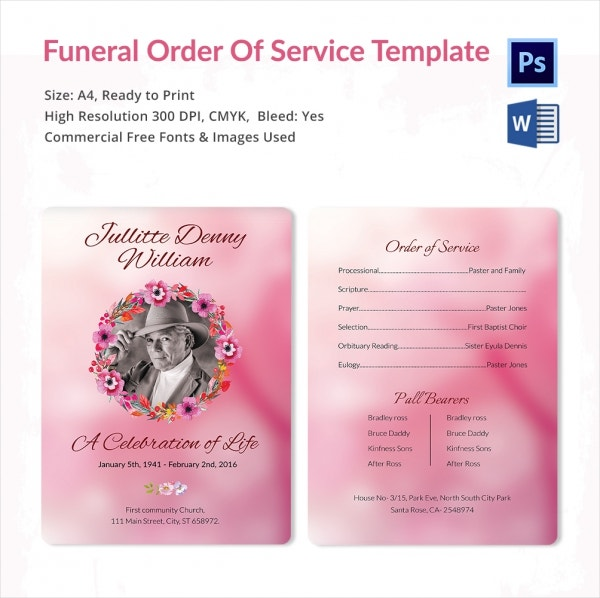 Comprehensive Funeral Order of Service Template