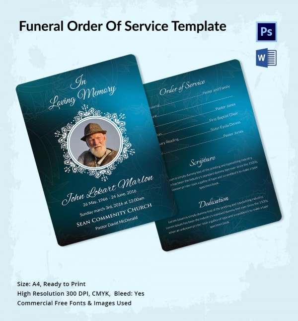 Funeral Prayer Order of Service Template