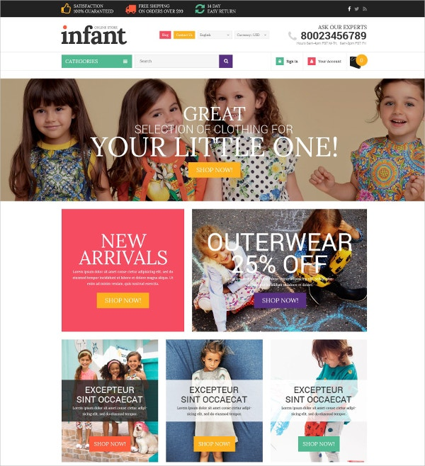 Baby Store Website Template $139