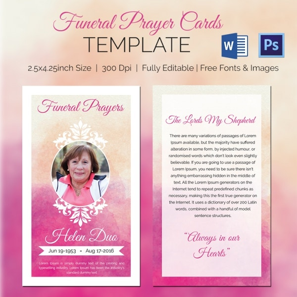 Funeral Prayer Card Template For Grand Mother  Prayer Card Template Free