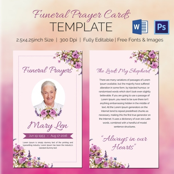 funeral memory cards free templates - 5 funeral prayer cards word psd format download free