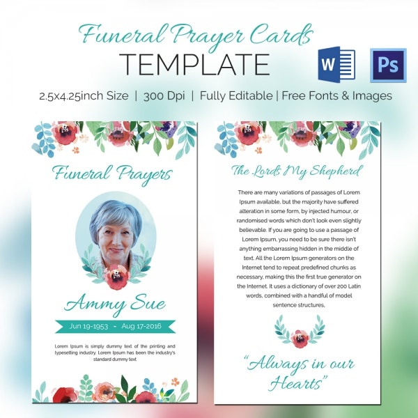 Elegant Funeral Family Prayer Card Template For Prayer Card Template Free