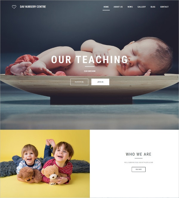 Kids Babysitter Responsive Website Template $199