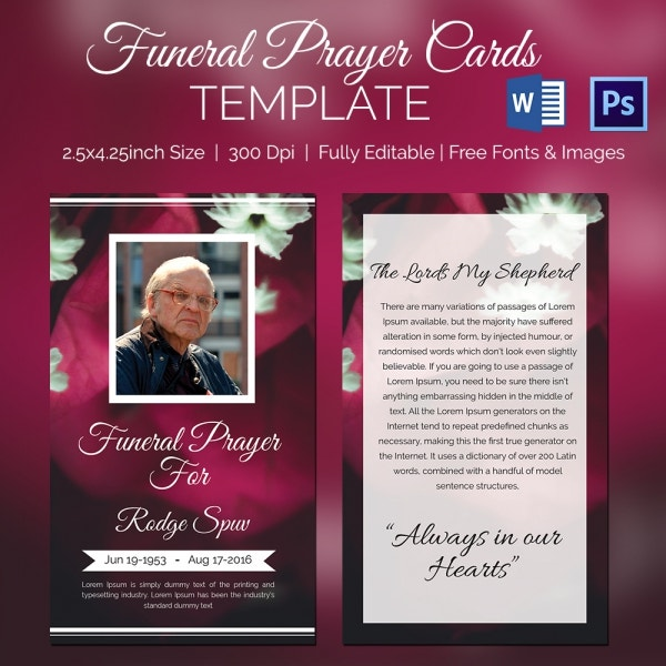 Special Funeral Prayer Card Template