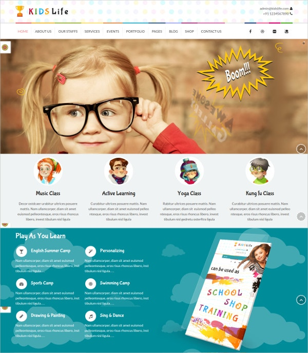 Website Template for Children $59