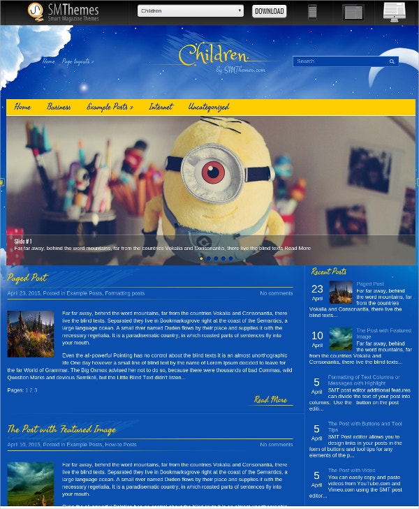 Free Beautiful Kids WordPress Website Theme